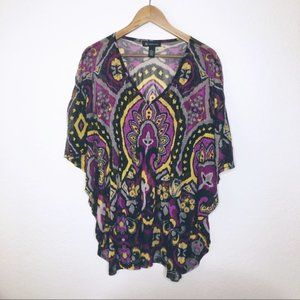 INC Purple L Dolman Sheer Top Flutter Sleeve Print